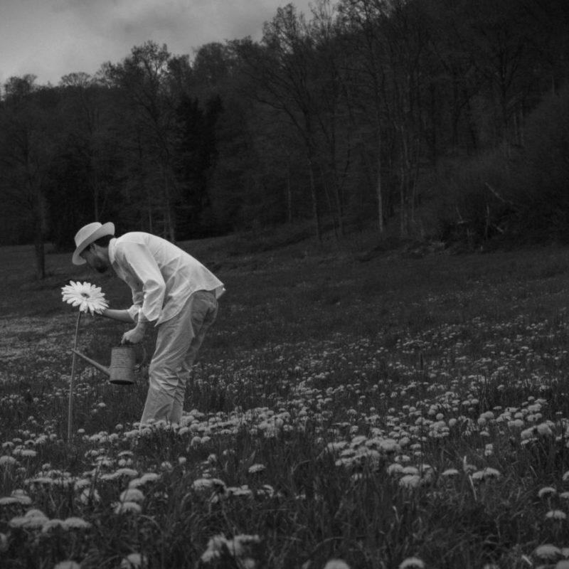 Man with Hat - Field of flowers